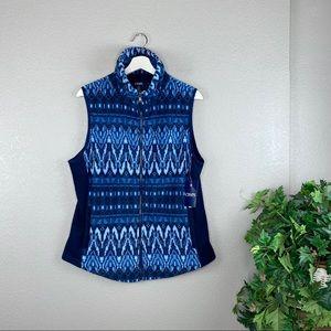 NWT Chaps Blue Printed Fleece Zip Front Vest